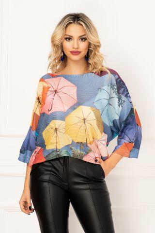 Bluza trendy din tricot cu maneca trei sferturi si imprimeu umbrelute