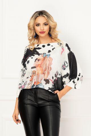 Bluza trendy din tricot cu maneca trei sferturi si imprimeu fashion