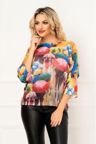 Bluza trendy din tricot cu maneca trei sferturi si imprimeu tomnatic cu umbrele