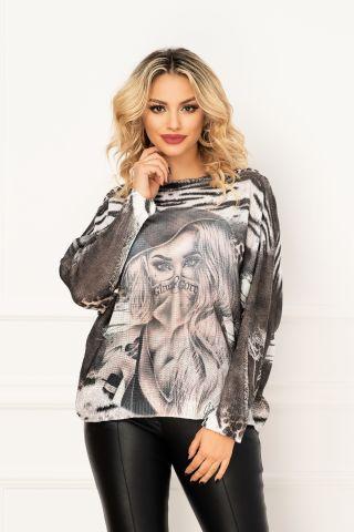 Bluza trendy din tricot cu maneca lunga si animal print