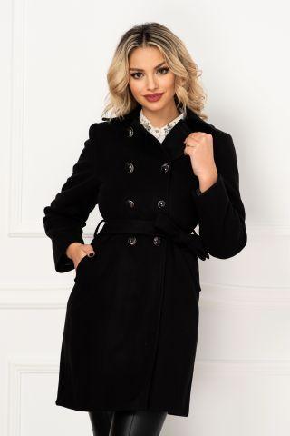 Palton Moze de dama negru elegant cu doua randuri de nasturi si buzunare laterale