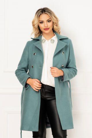 Palton Moze de dama bleu elegant cu doua randuri de nasturi si buzunare laterale