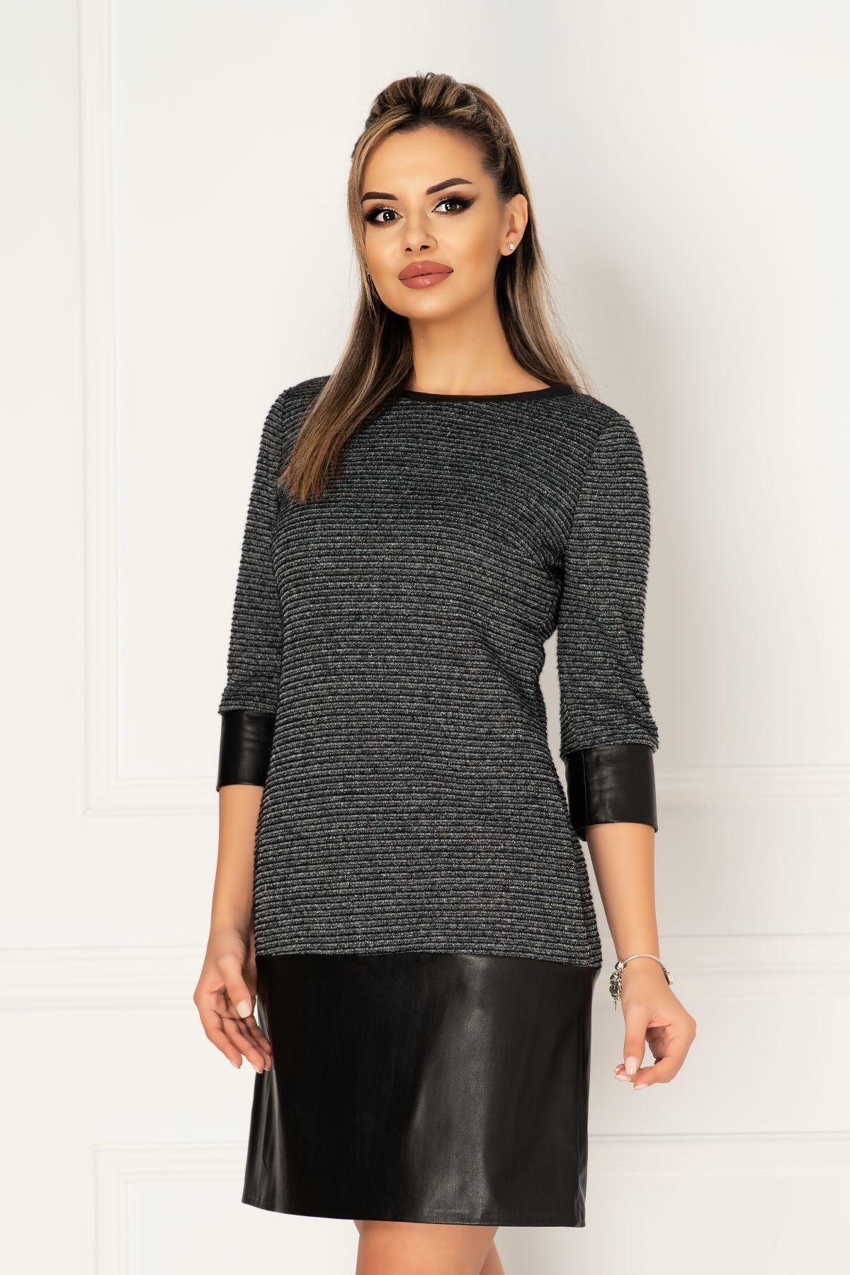 Rochie MBG lejera din tricot cu benzi din piele ecologica si buzunare laterale