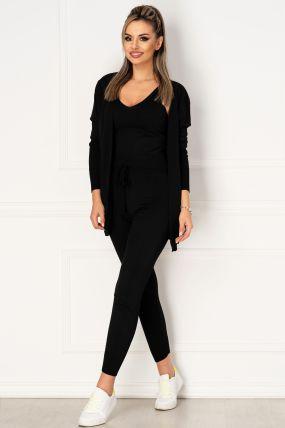 Compleu negru casual din tricot compus din trei piese