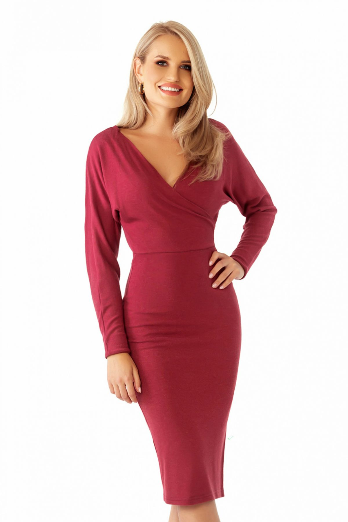 Rochie Pretty Girl bordo de zi cambrata din jerse Pretty-Girl