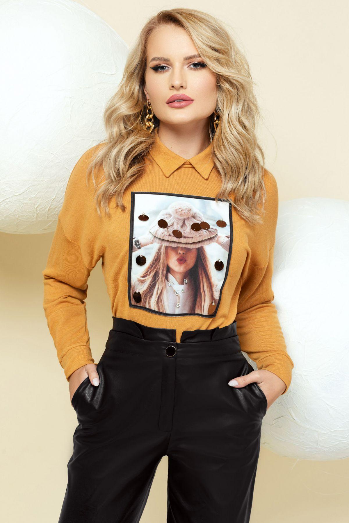 Pulover mustar din tricot cu imprimeu in chenar