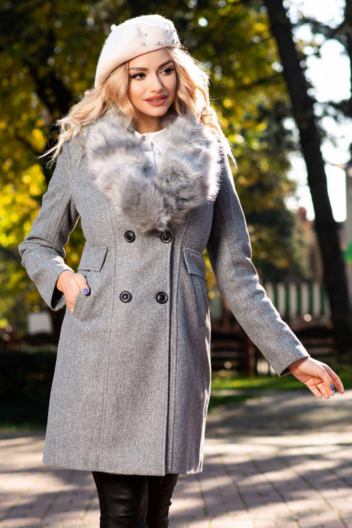 Palton MBG din stofa gri cu guler din blana detasabila