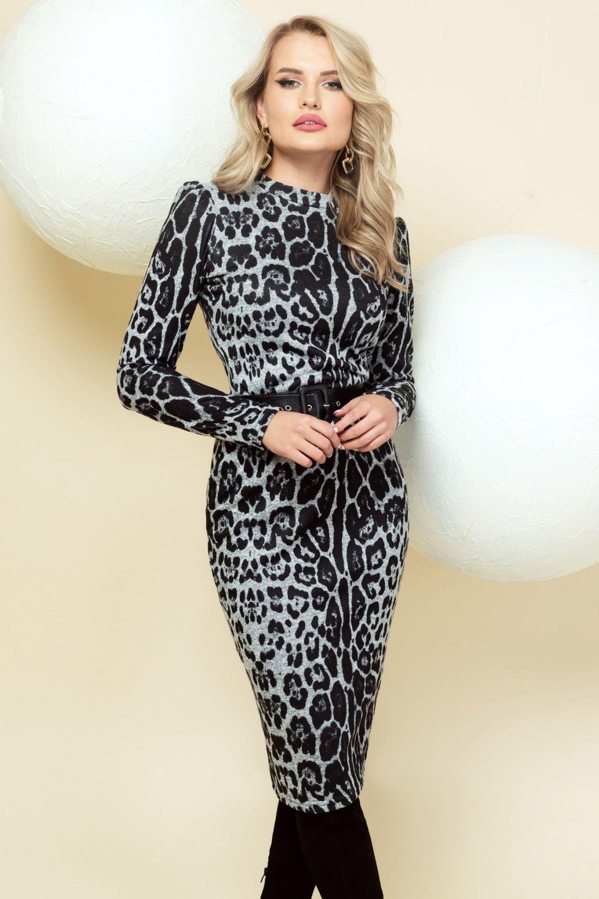 Rochie Pretty Girl cambrata gri cu imprimeu leopard Pretty-Girl