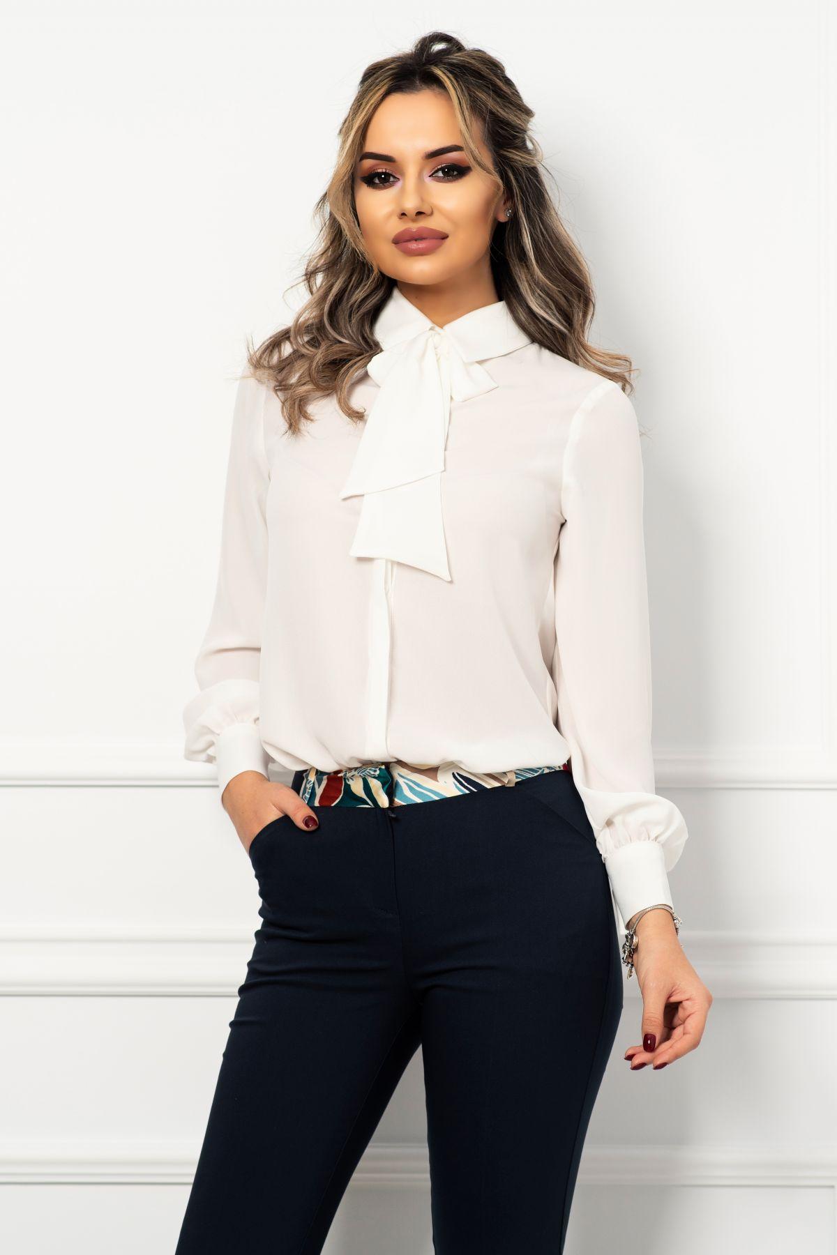 Bluza din voal ecru cu funda stilizata din panglica si mansete late