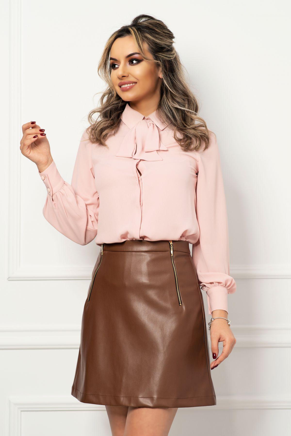 Bluza din voal rose cu funda stilizata din panglica si mansete late