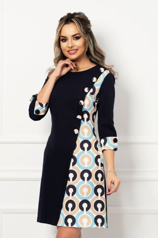Rochie de zi in A bleumarin cu imprimeu cercuri si nasturi imbracati
