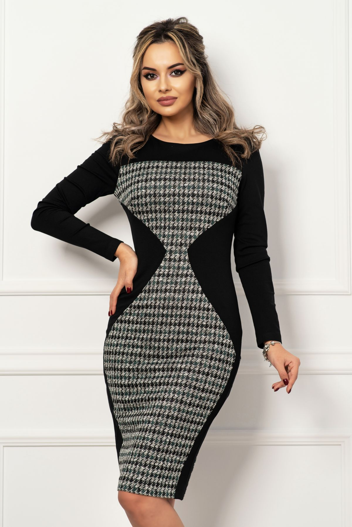 Rochie office tip clepsidra cu imprimeu verde pied du coq MBG-Collection