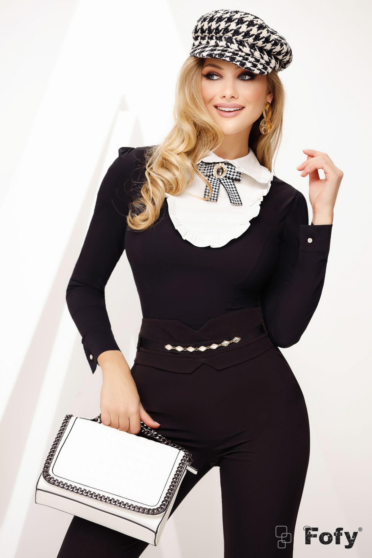 Camasa neagra eleganta cu platca si brosa detasabila
