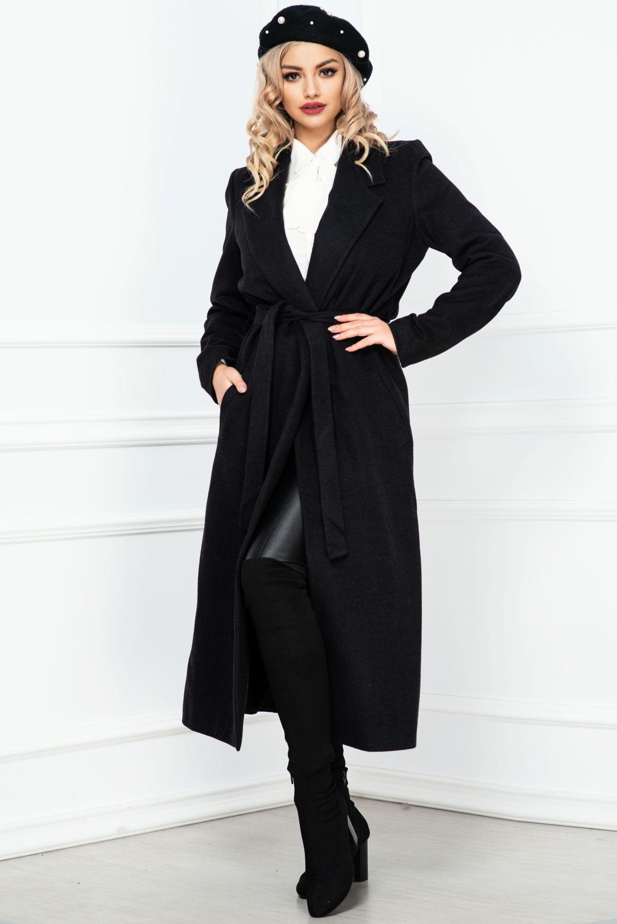 Palton dama negru elegant lung cu cordon in talie
