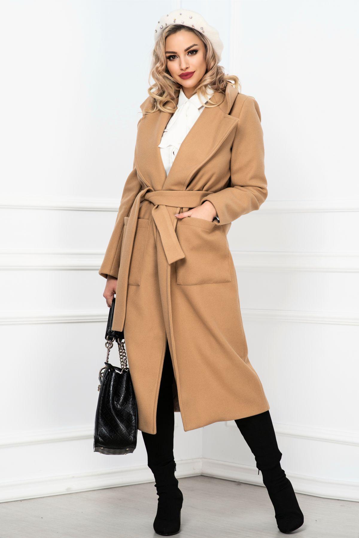 Palton dama elegant bej lung din stofa