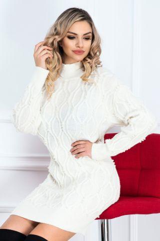 Rochie de zi ecru din tricot cu perlute aplicate