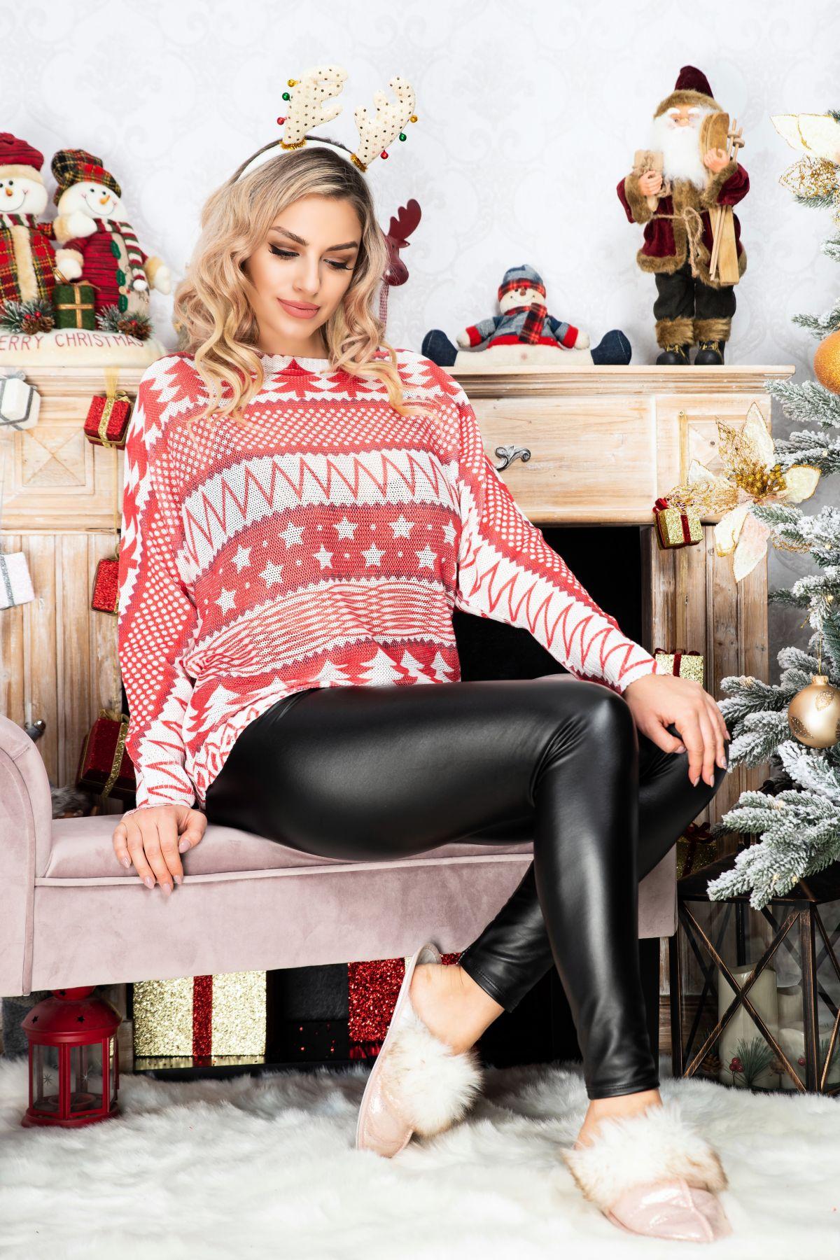 Bluza trendy rosie din tricot cu maneca lunga si imprimeu de iarna