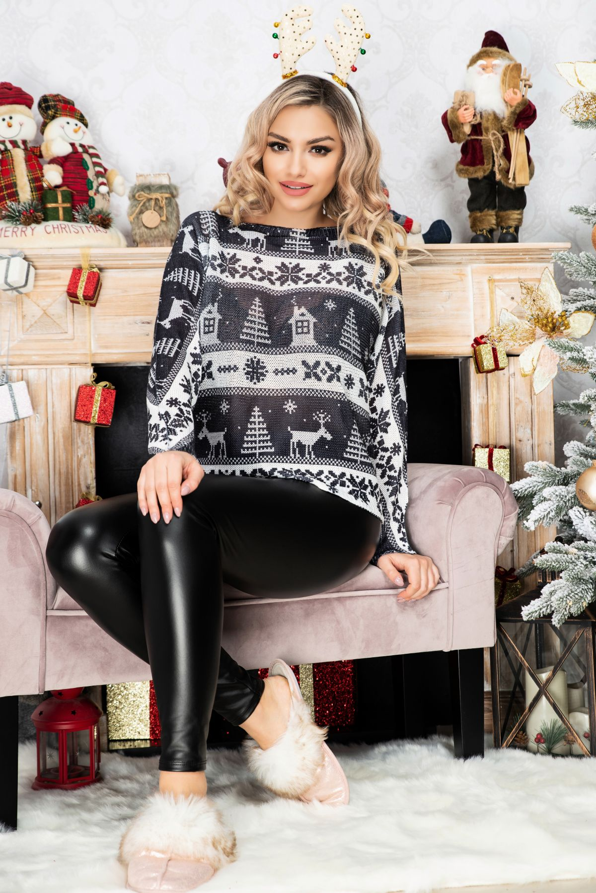 Bluza trendy neagra din tricot cu maneca lunga si imprimeu peisaj de iarna