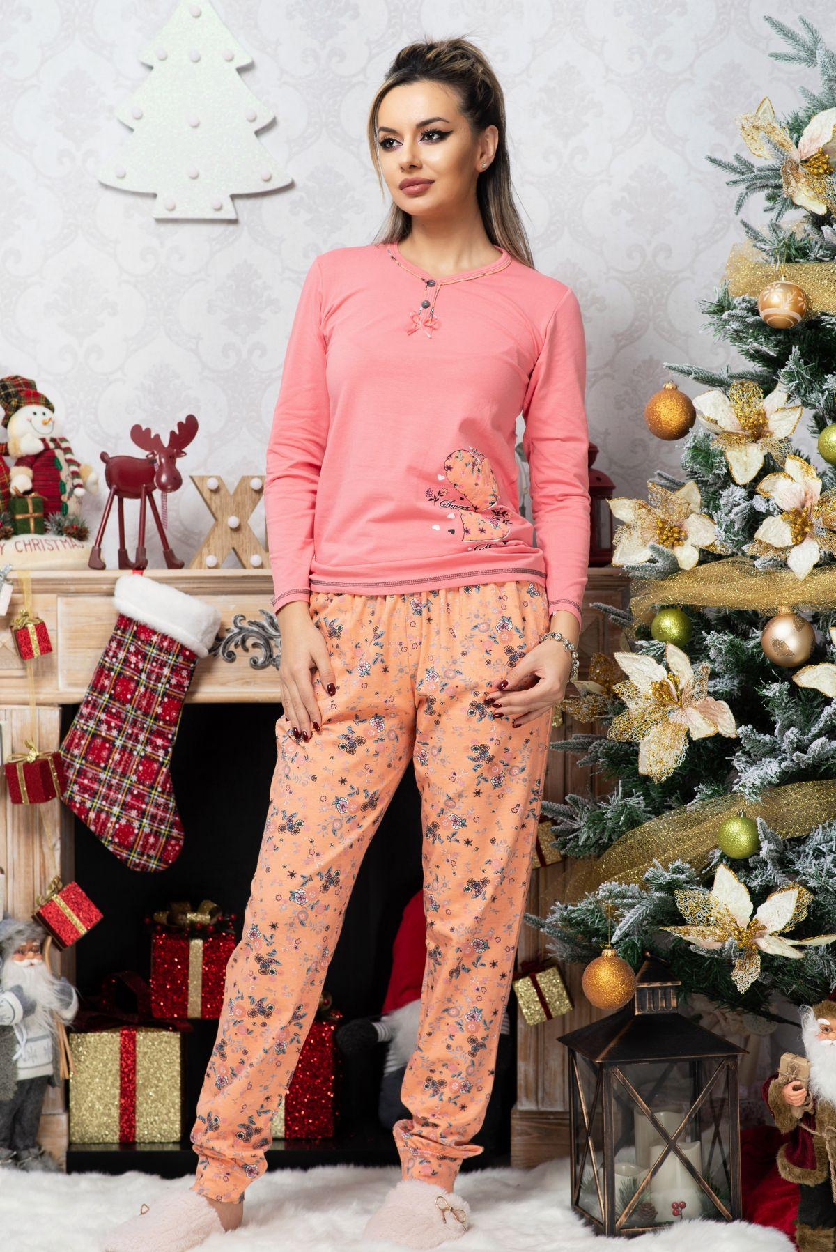 Pijama trendy bicolora din bumbac cu imprimeu floral