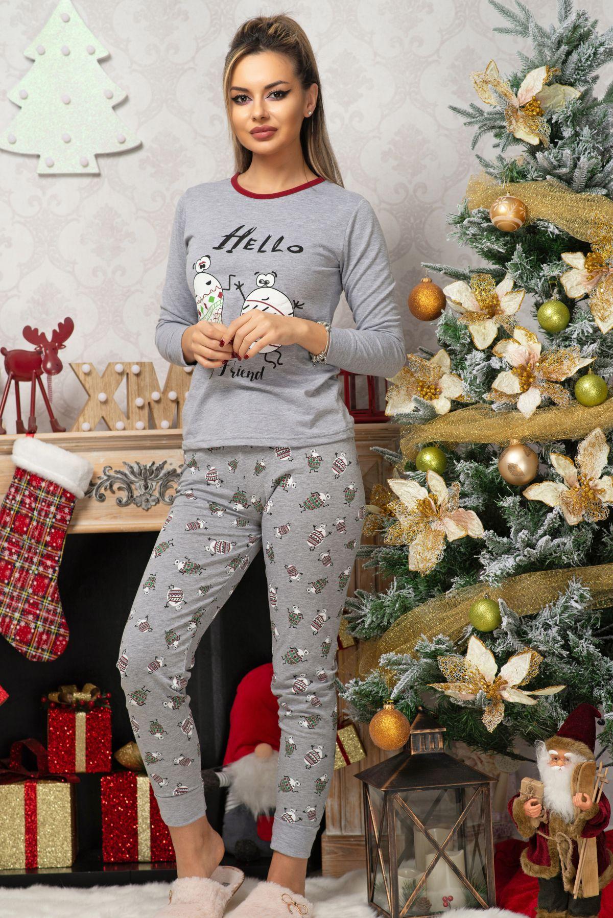 Pijama trendy gri din bumbac cu imprimeu Friends