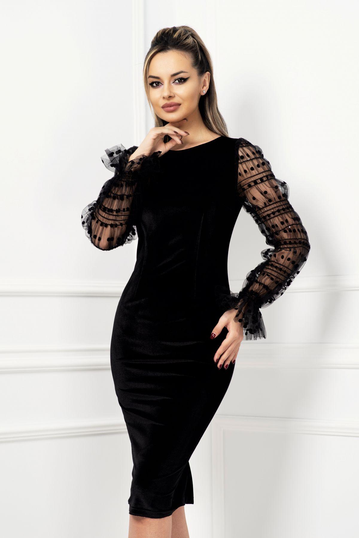 Rochie de ocazie neagra din catifea cu maneci din voal cret
