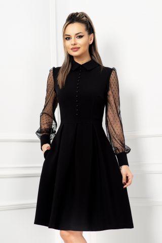 Rochie eleganta neagra in clos cu nasturi tip perla si maneci din tul