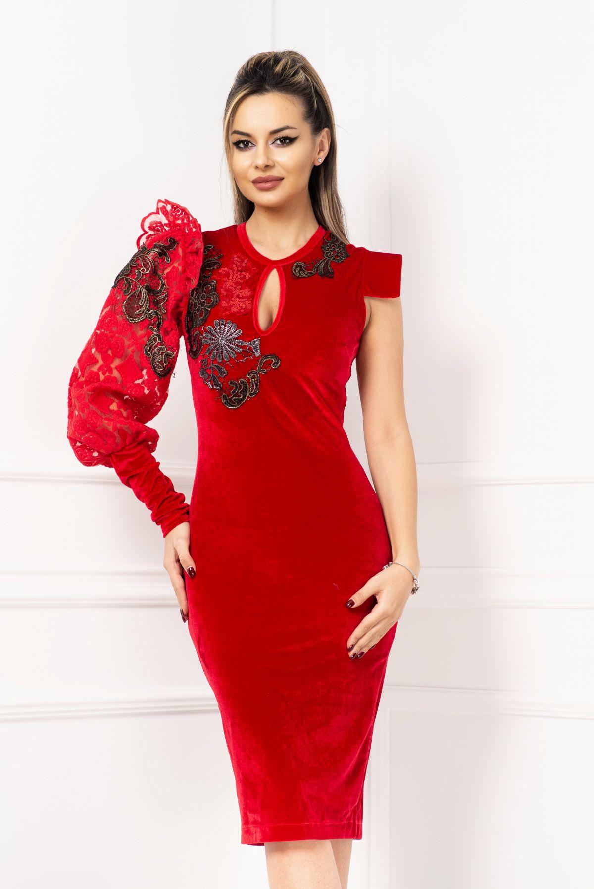 Rochie eleganta din catifea cu o maneca lunga brodata Venezia-Artigiano-Moda