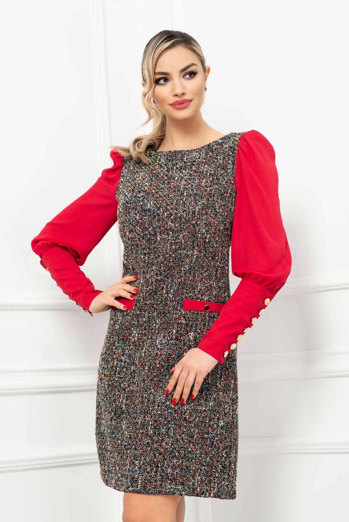 Rochie de zi din bucle multicolora cu maneci din voal si nasturi aurii MBG-Collection