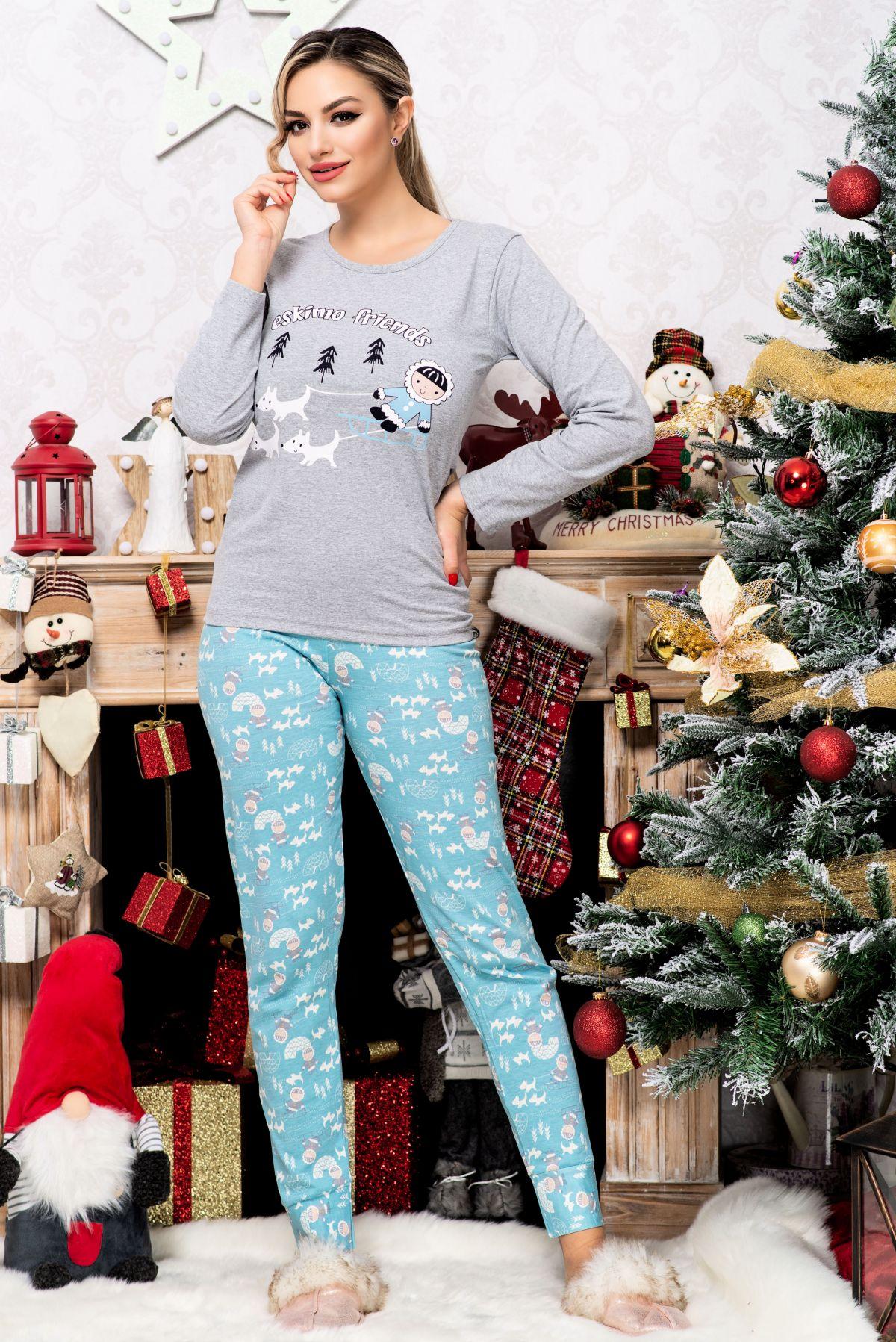 Pijama din bumbac trendy Eskimo Friends