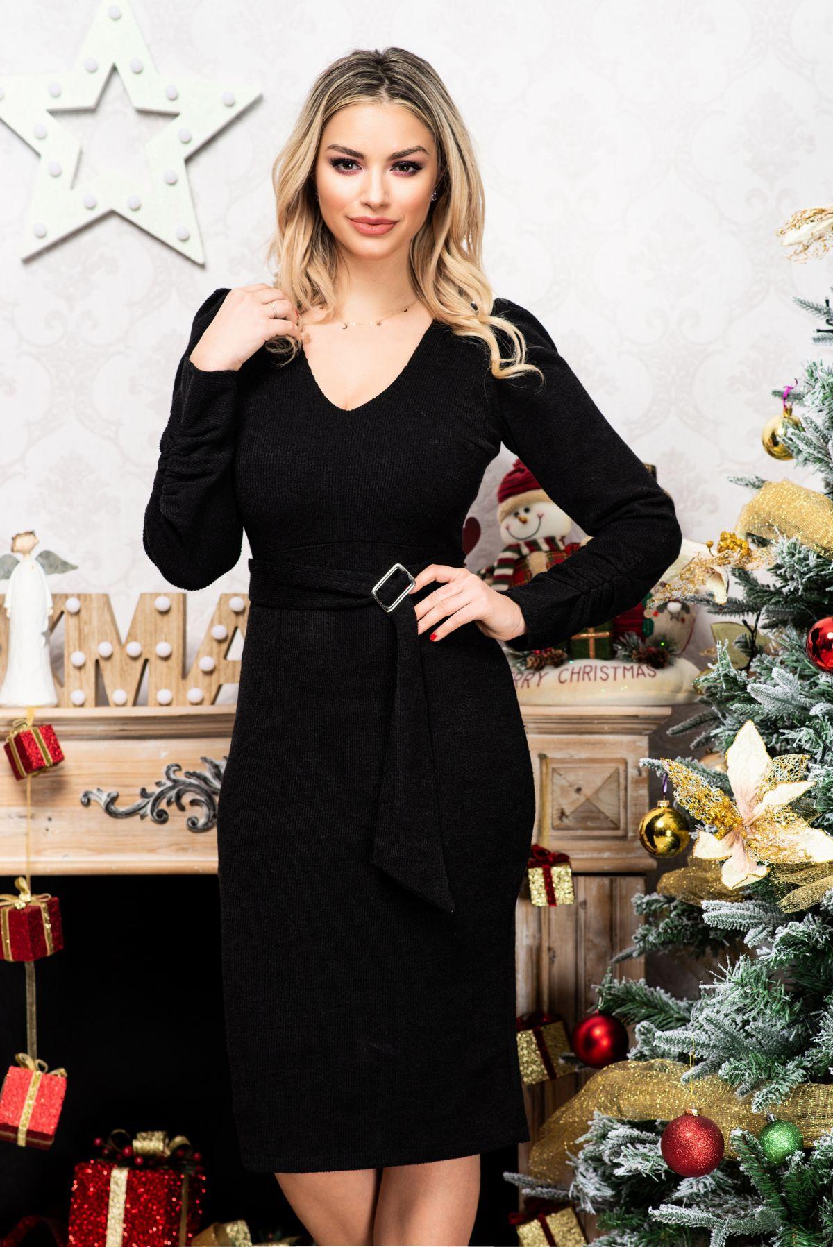 Rochie Moze neagra cambrata din tricot cu manci incretite Moze