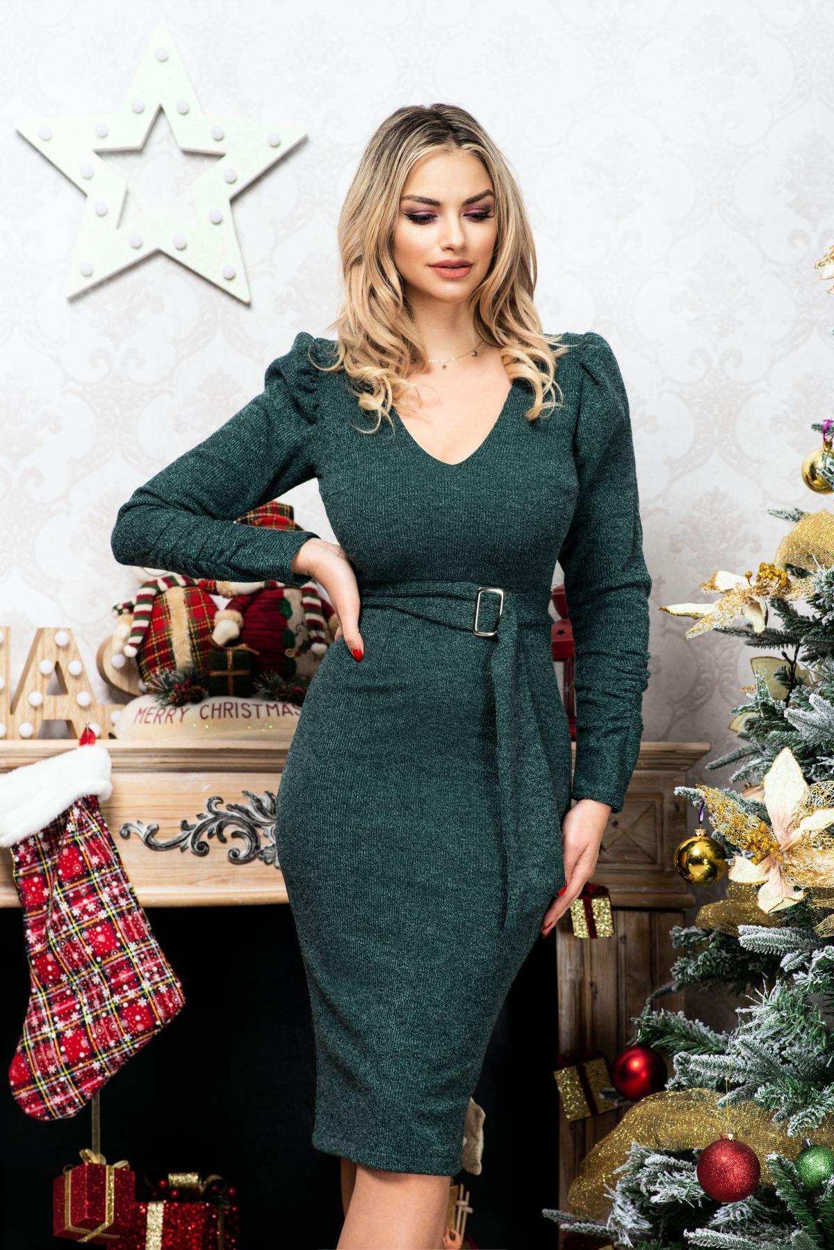 Rochie Moze verde cambrata din tricot cu manci incretite Moze
