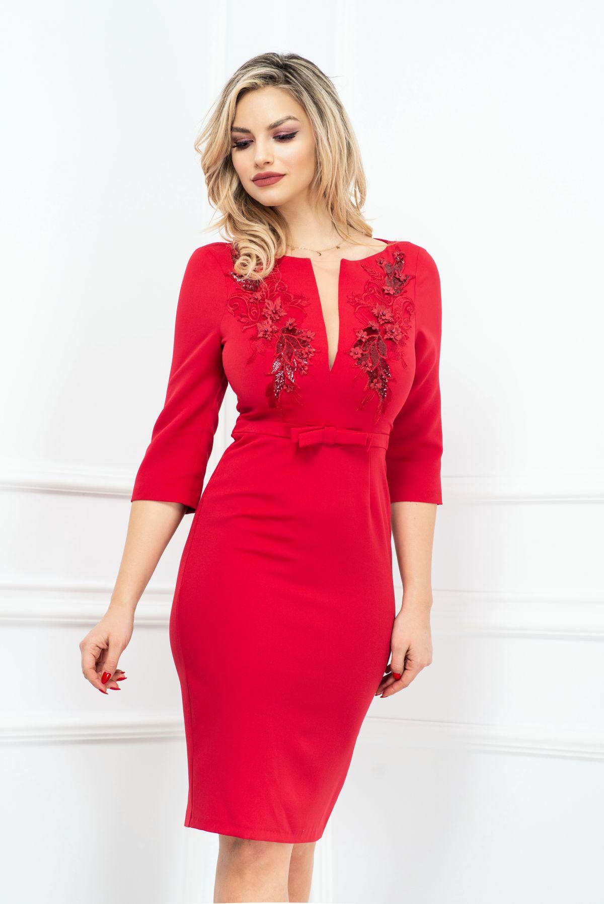 Rochie rosie eleganta MBG-Collection
