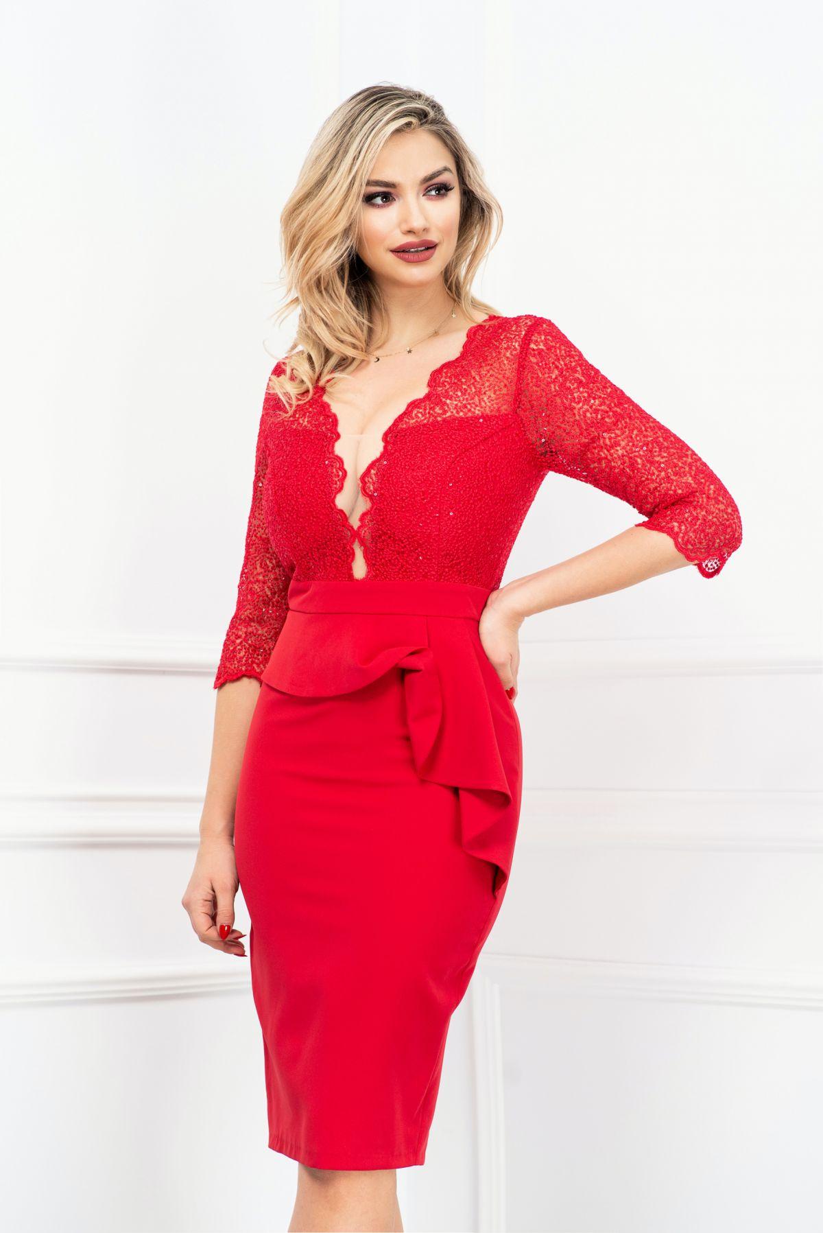 Rochie eleganta rosie MBG-Collection