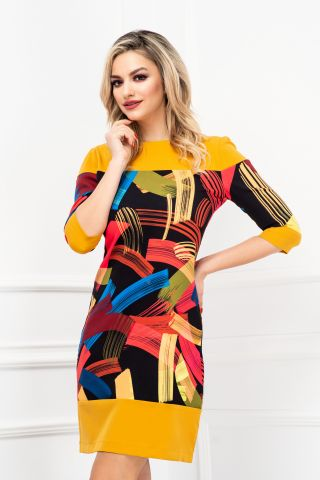 Rochie negru-mustar de zi in A cu imprimeu multicolor