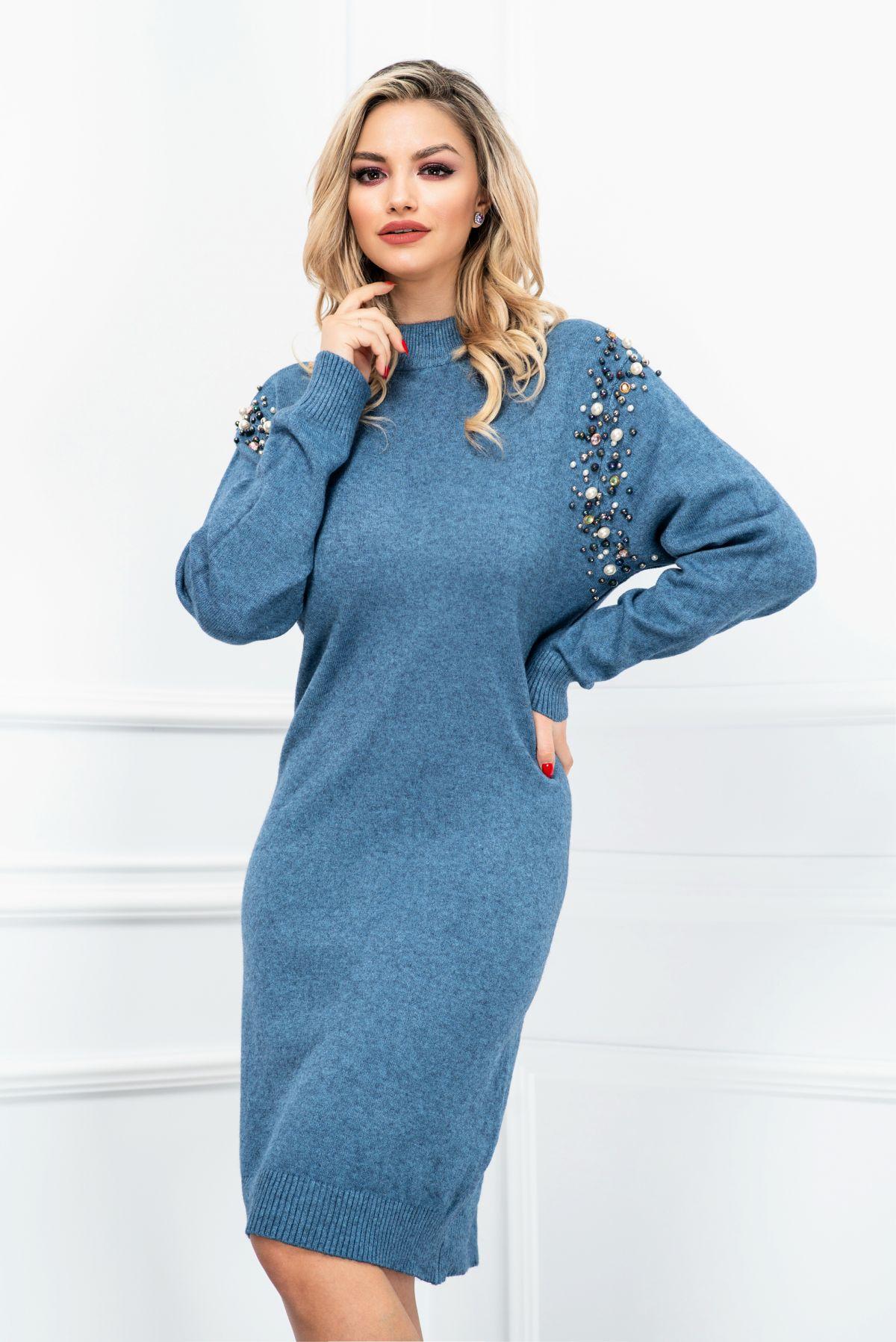 Rochie lejera bleu din tricot accesorizata cu perle si strasuri InPuff-Young