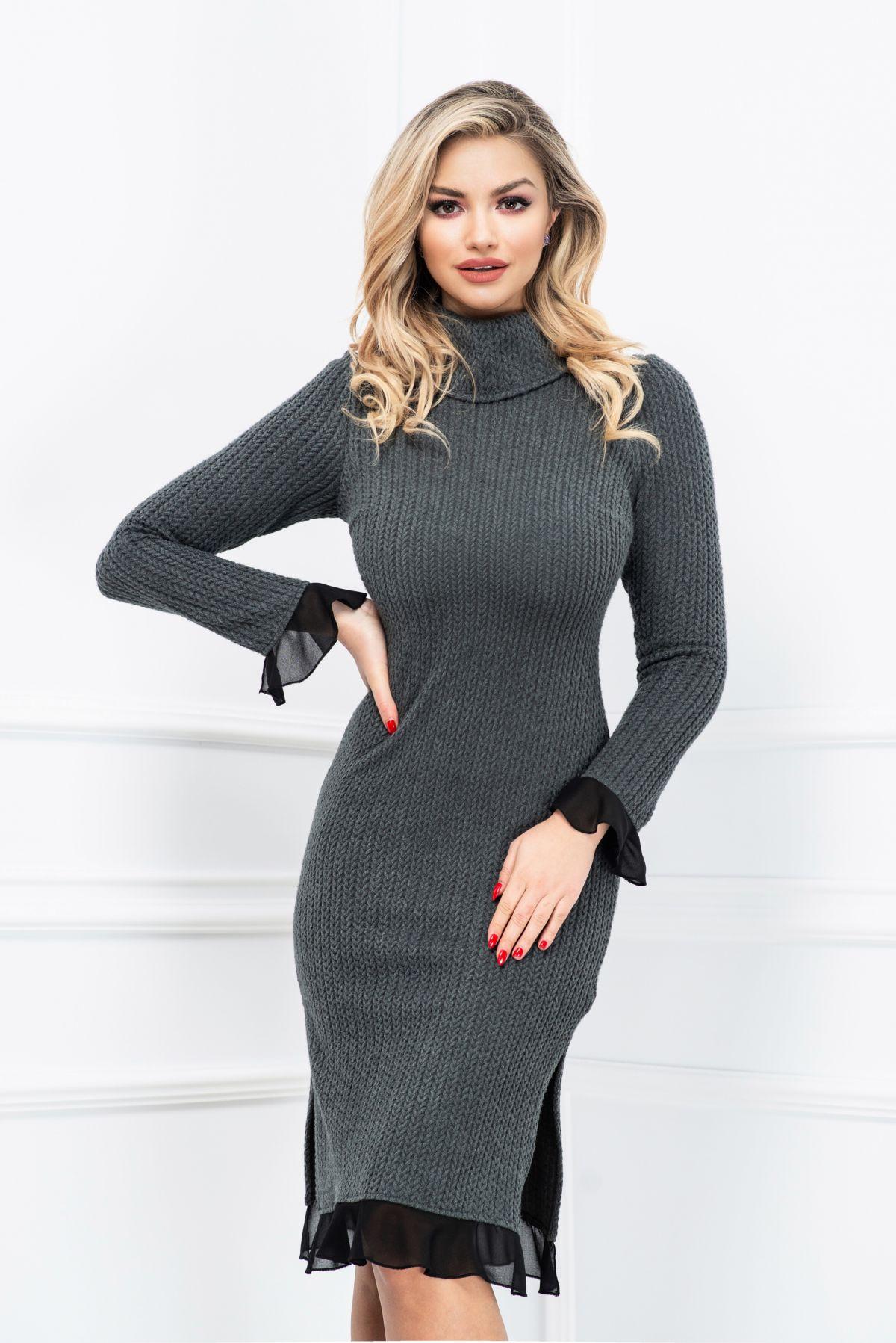 Rochie de zi gri din tricot cu volanase din voal negru Xara