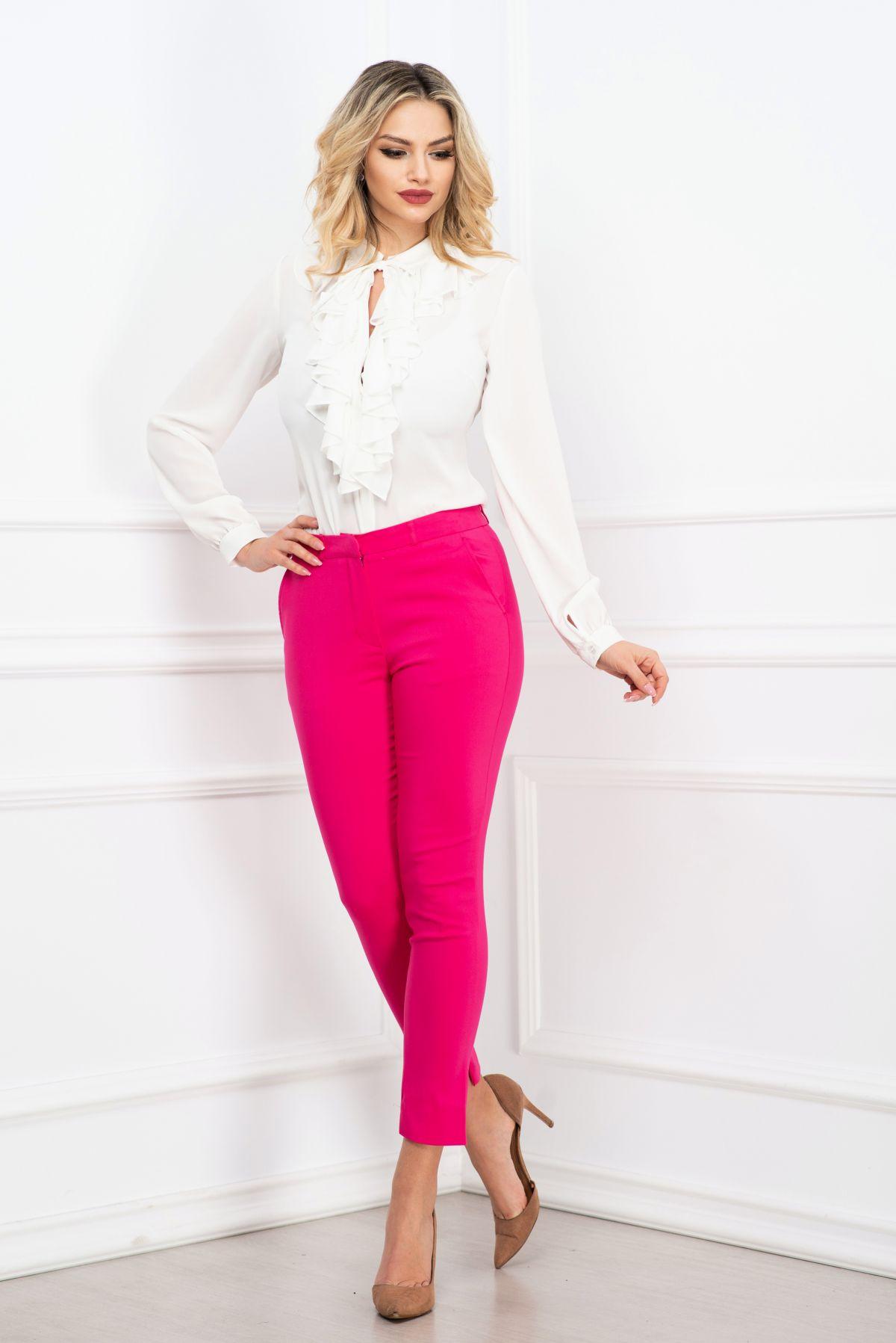 Pantaloni Effect office conici ciclam