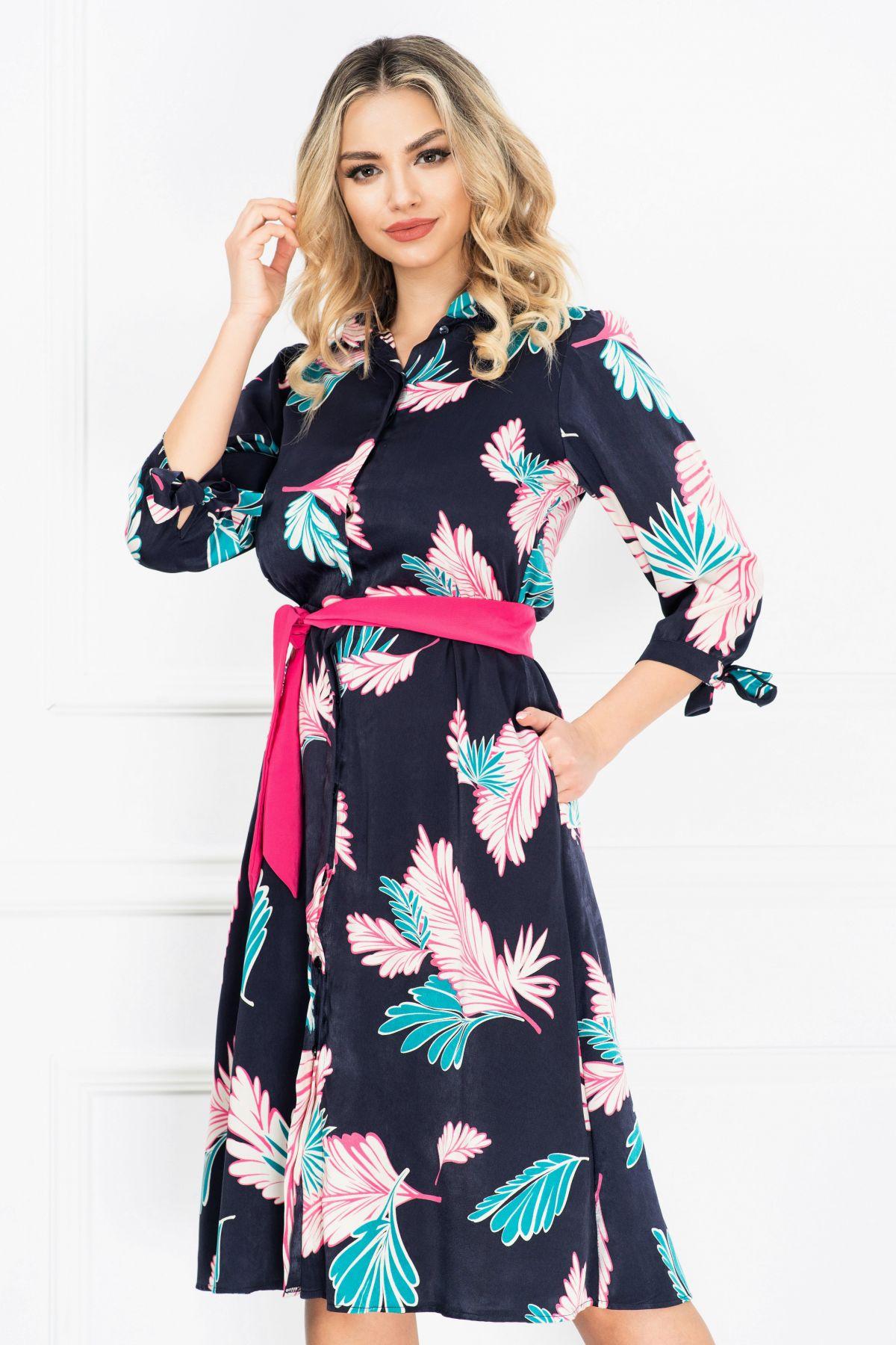 Rochie de zi in clos bleumarin cu imprimeu frunze ciclam si turquoise