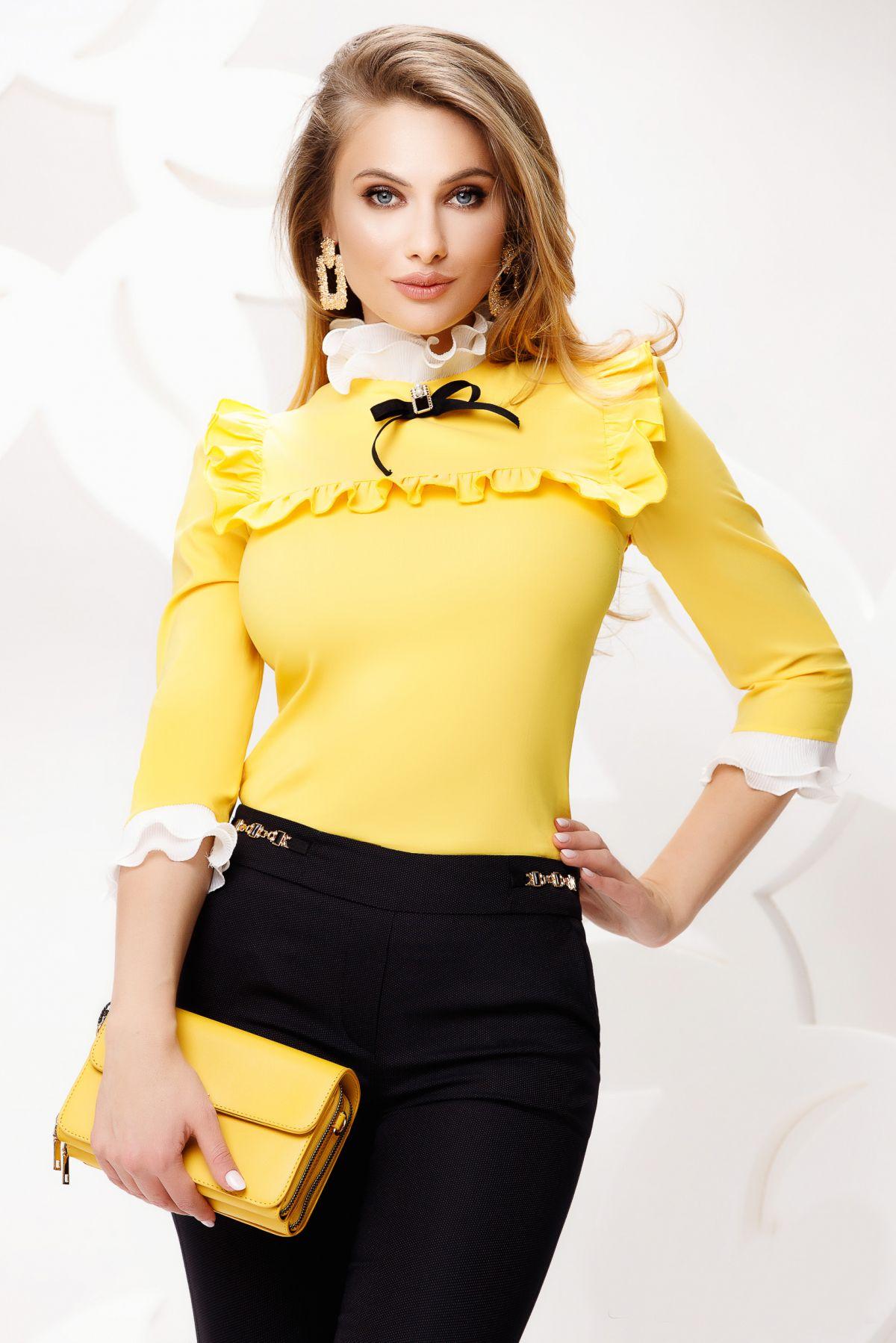 Camasa de dama galbena cu platca si volane crete