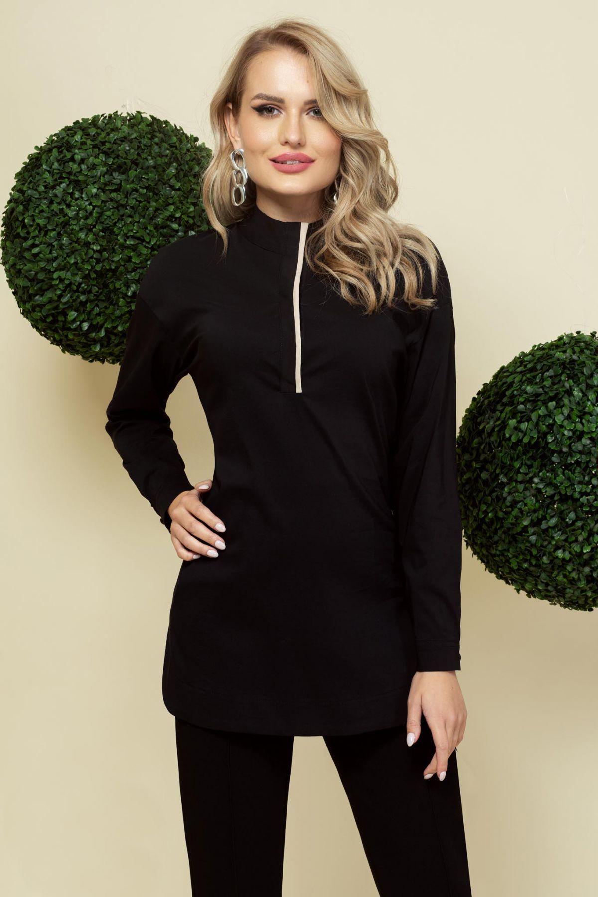 Camasa neagra cu fenta in contrast si guler tip tunica