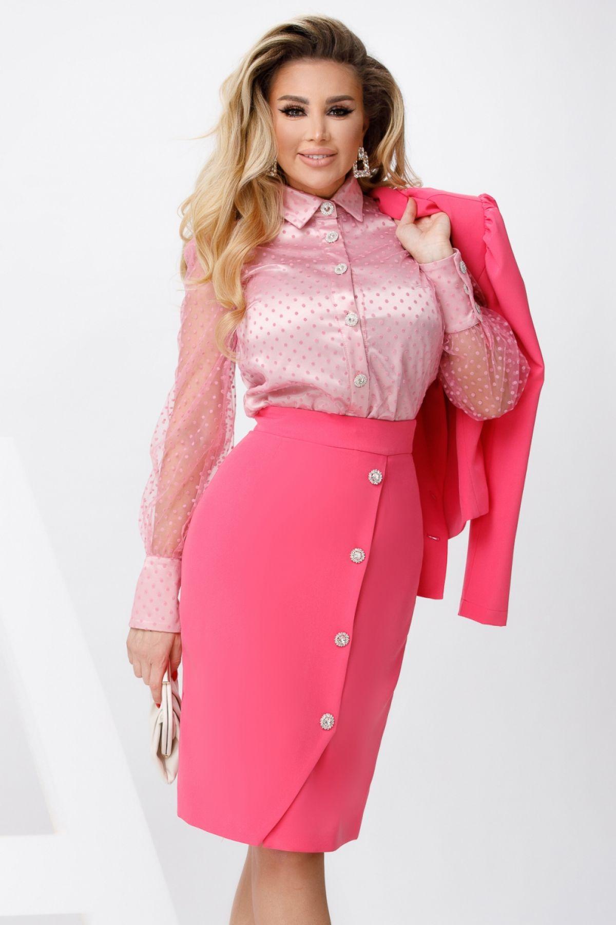 Camasa roz cu buline texturate si maneci din tul