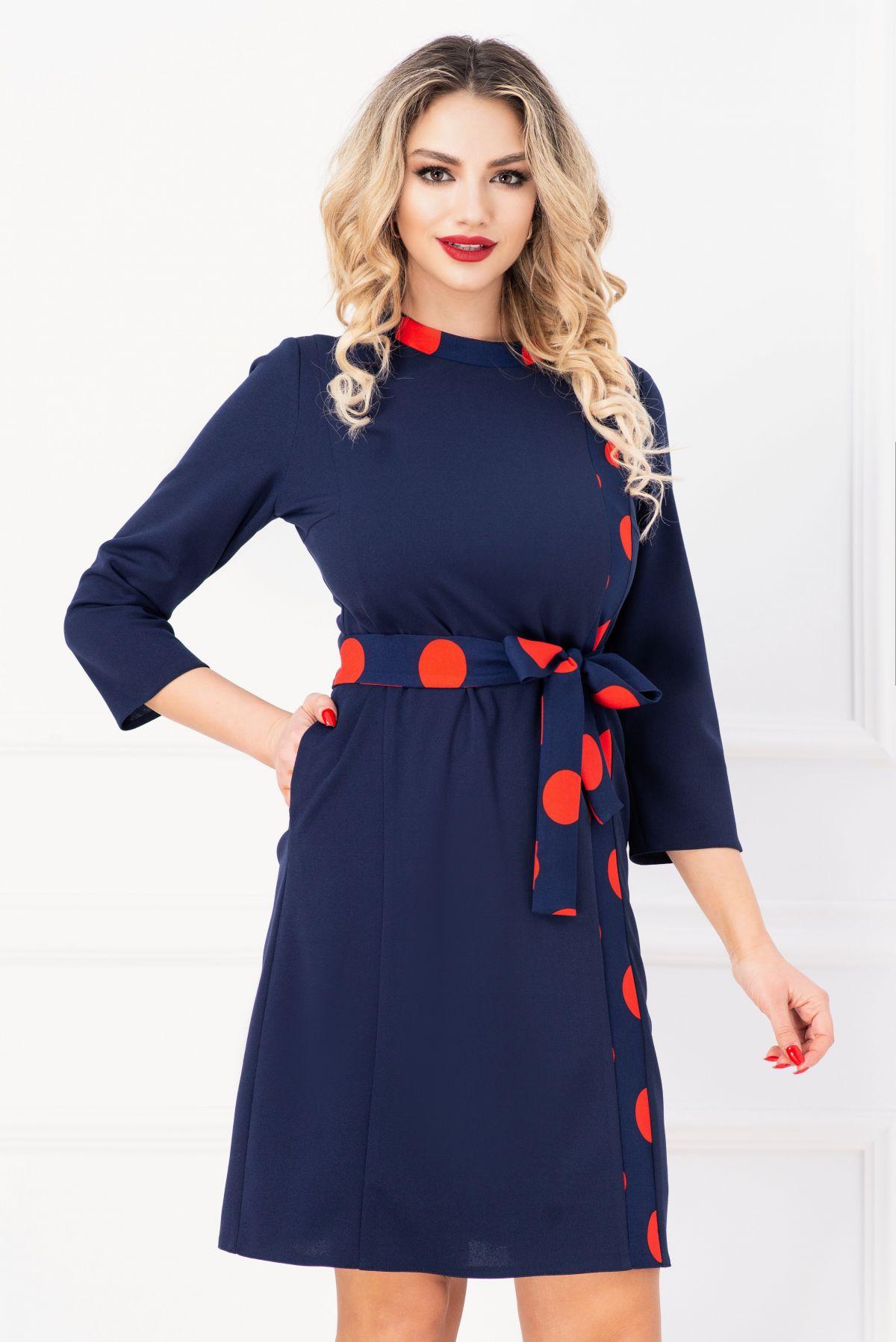 Rochie de zi bleumarin cu detalii imprimate cu buline