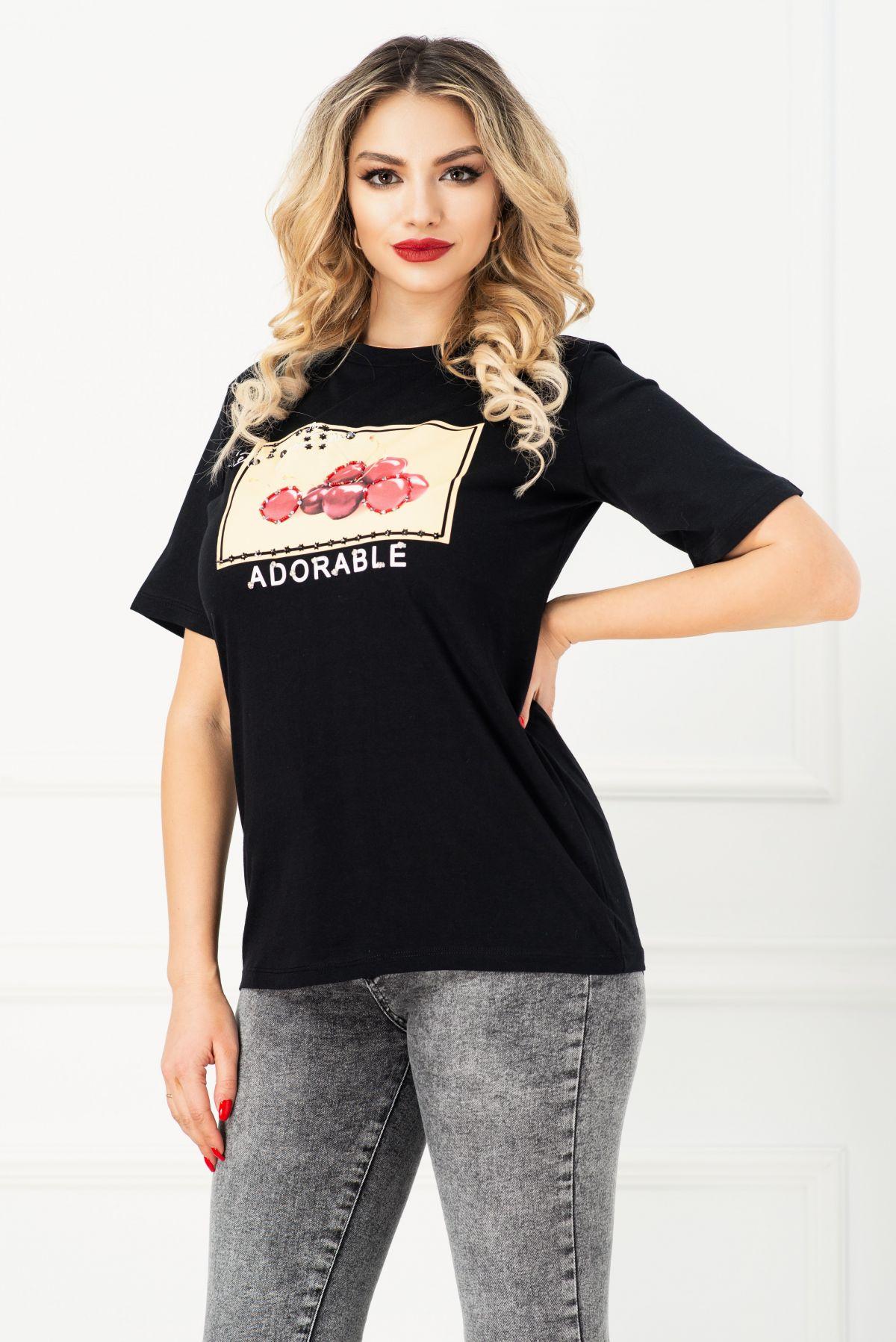Tricou negru cu imprimeu cirese si strasuri aplicate