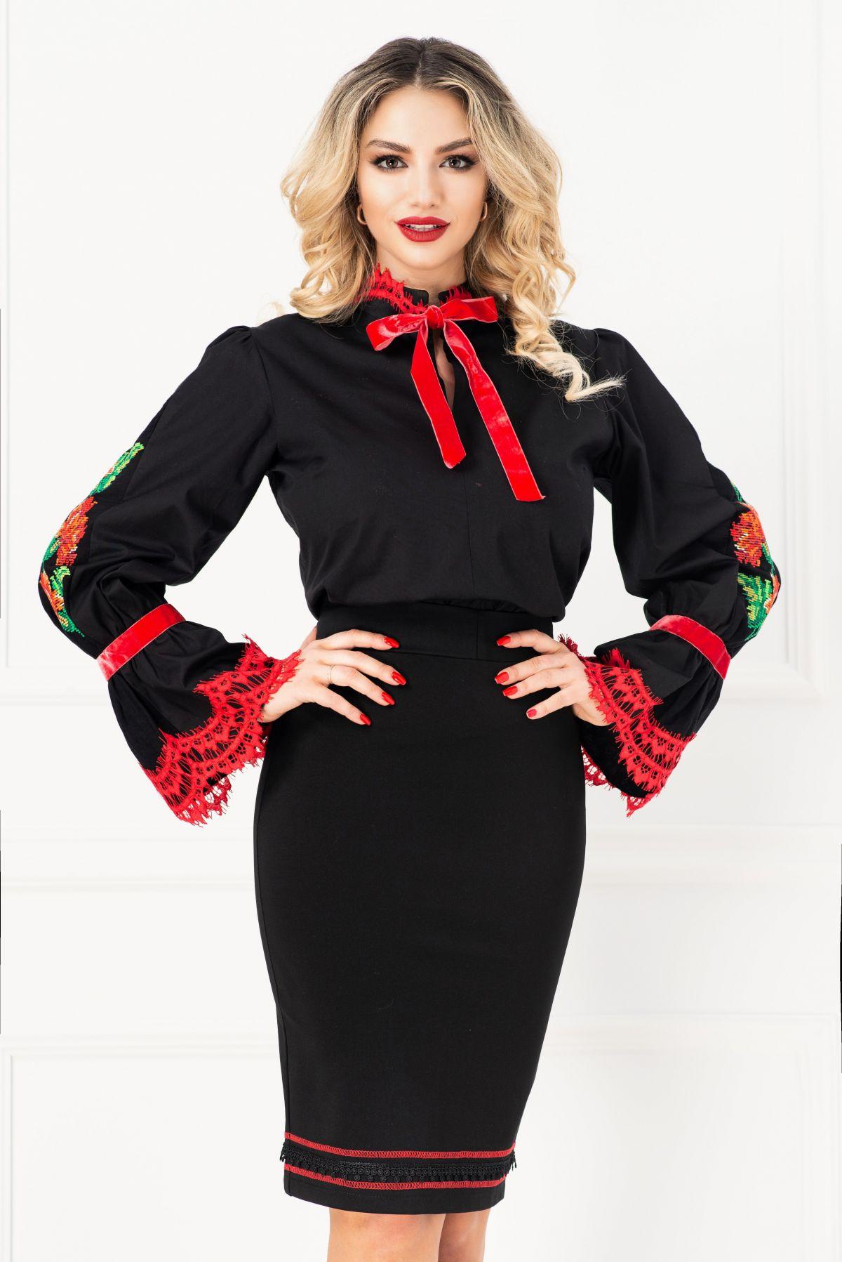 Bluza traditionala neagra brodata cu maneca tip clopot