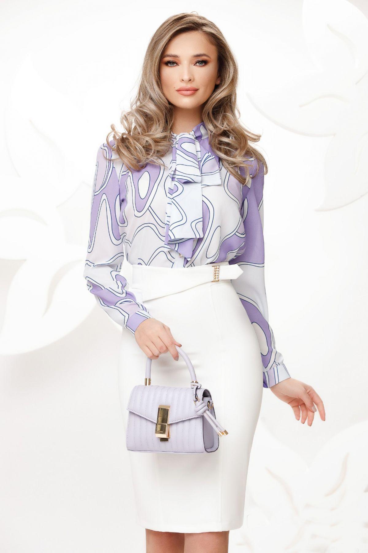Bluza eleganta lila cu imprimeu geomatric si funda maxi