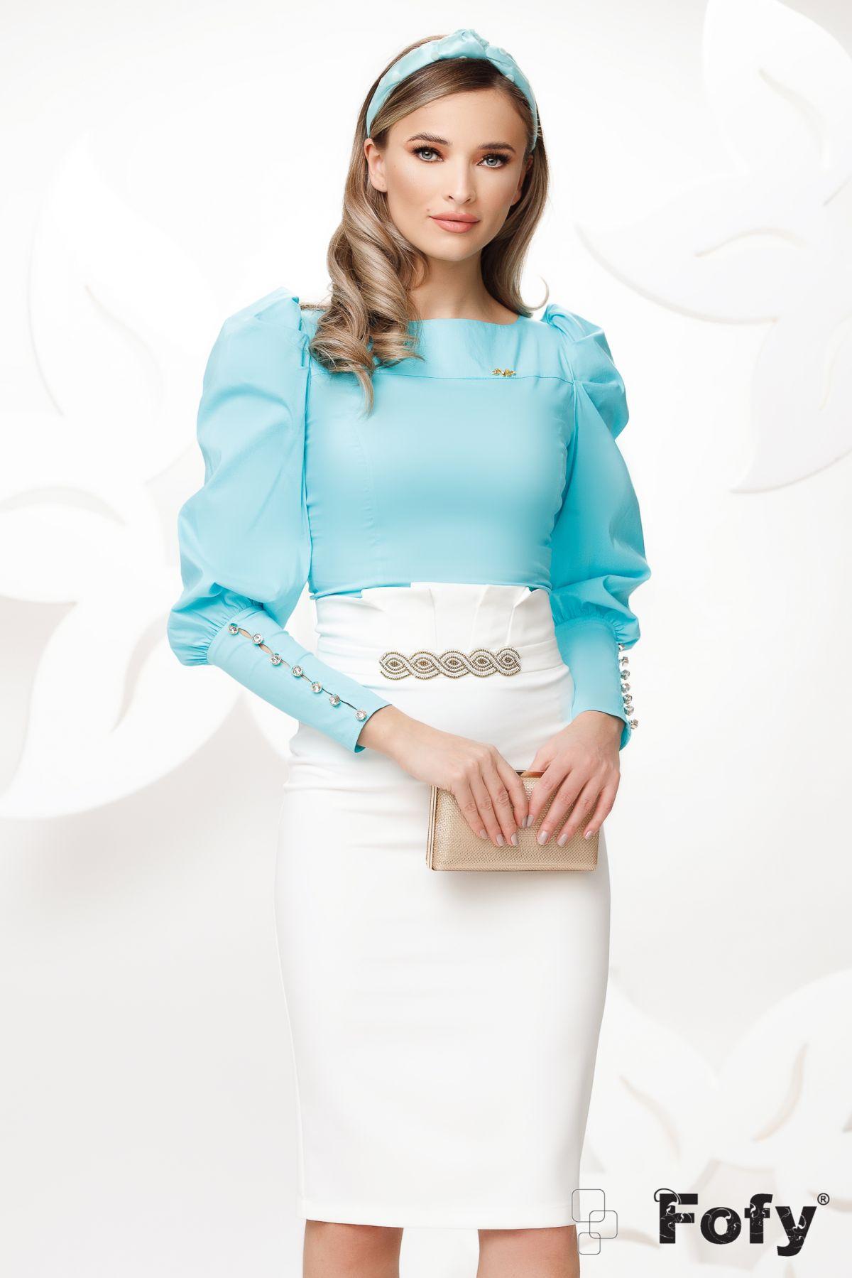 Camasa Fofy turquoise cu mansete late si nasturi cu stras