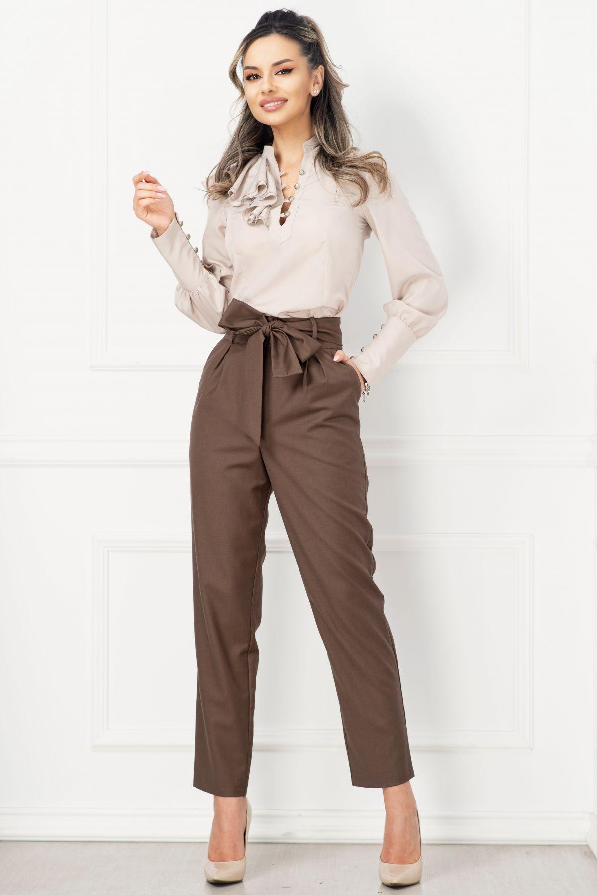 Pantaloni InPuff office maro din stofa cu talie inalta
