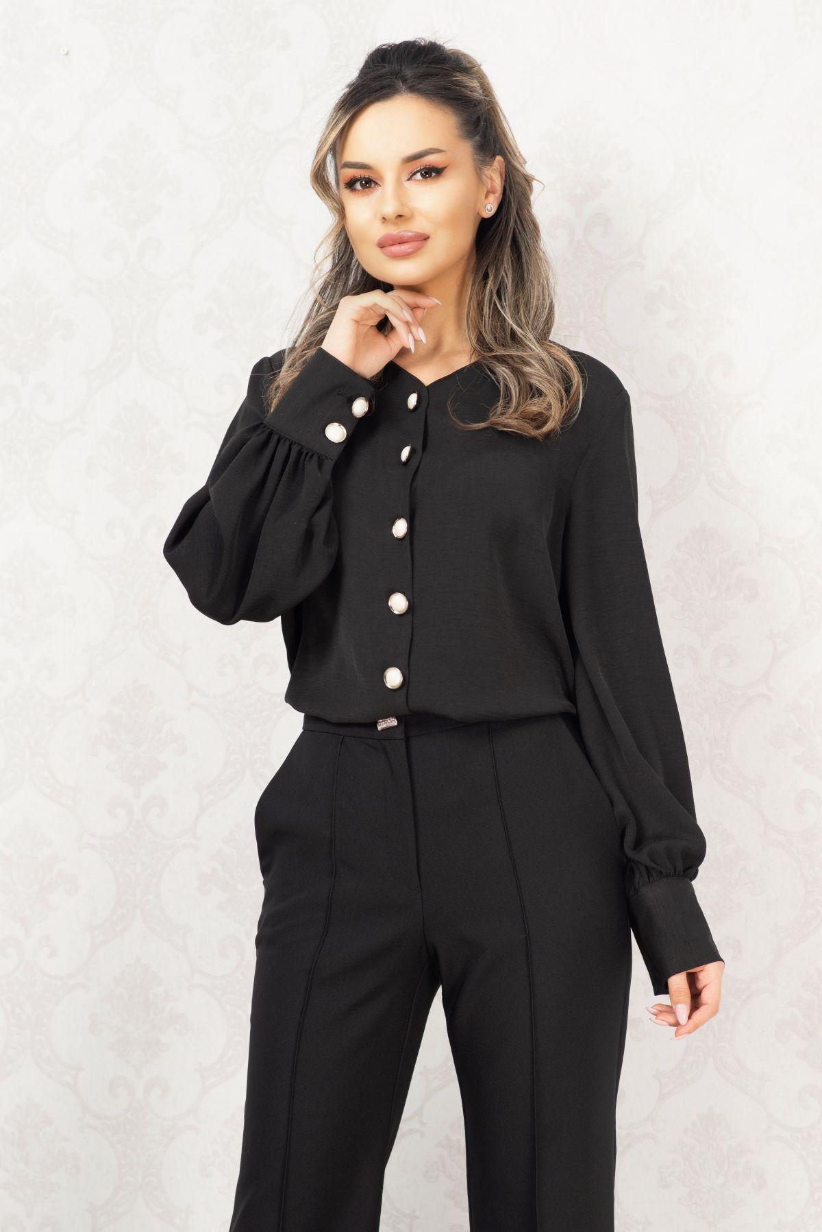 Camasa eleganta neagra cu nasturi maxi si mansete late