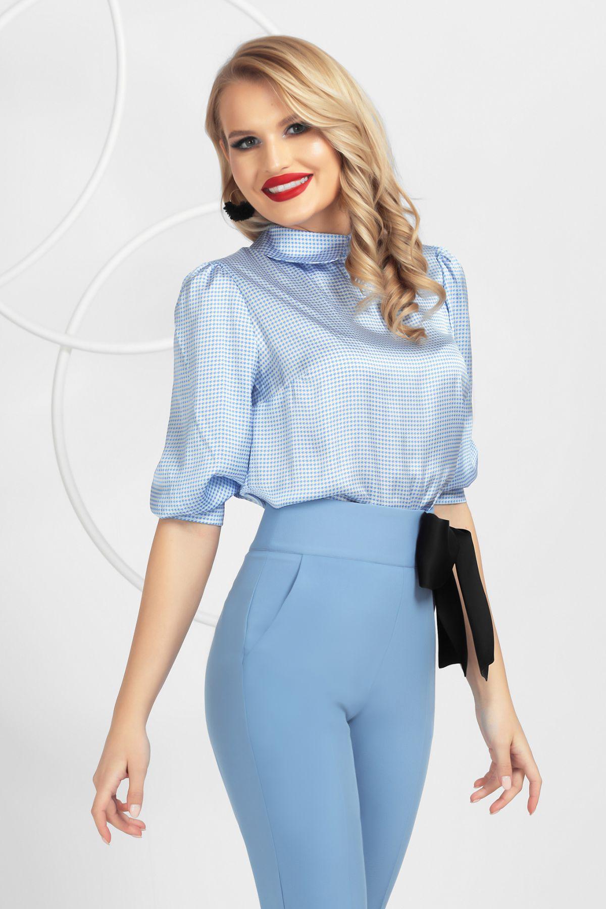Bluza Pretty Girl bleu cu imprimeu pied cu coq si maneci bufante