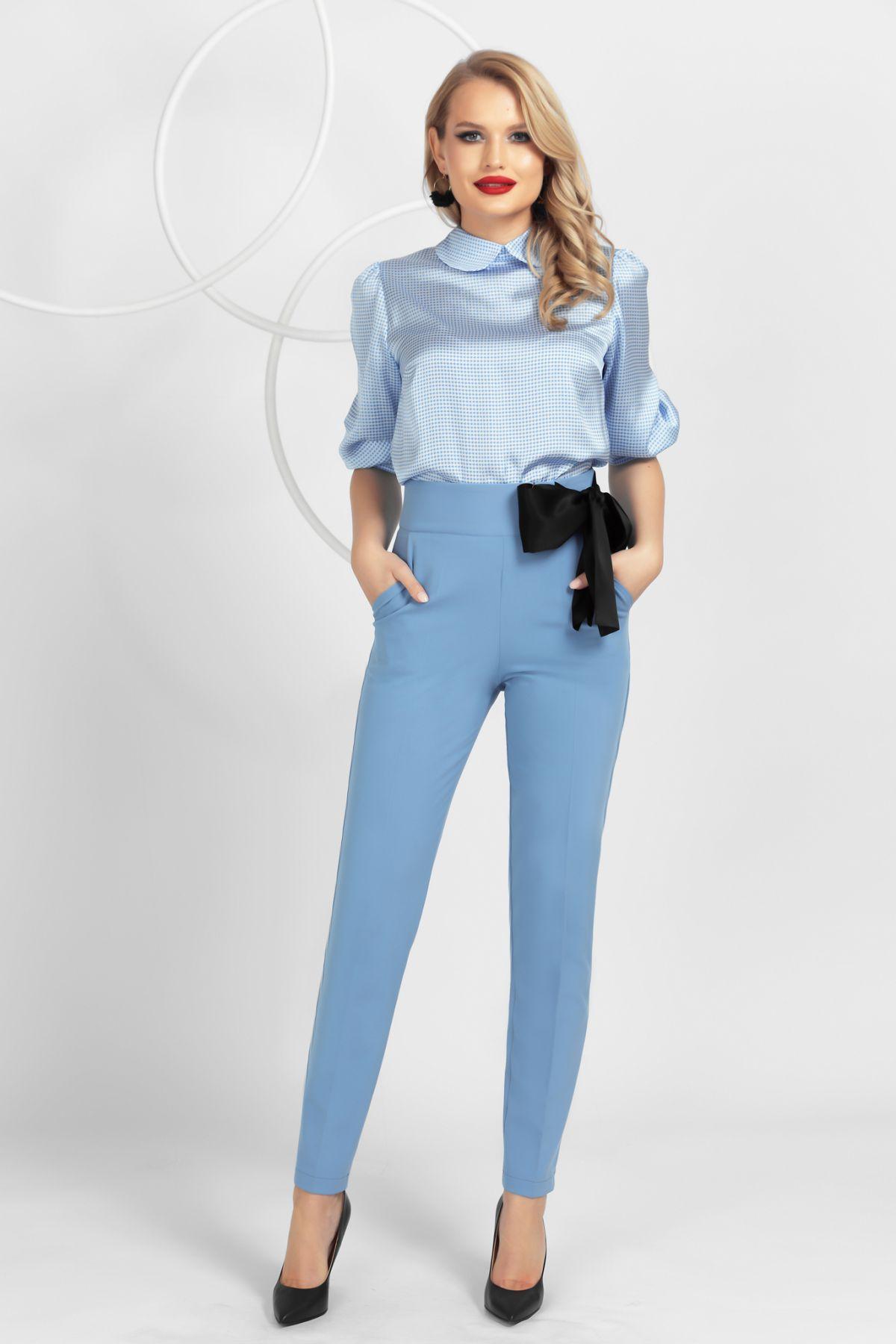 Pantaloni Pretty Girl bleu conici cu funda neagra satinata